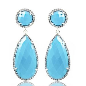 Turquoise Pear Pave Teardrop & Round Top Gemstone